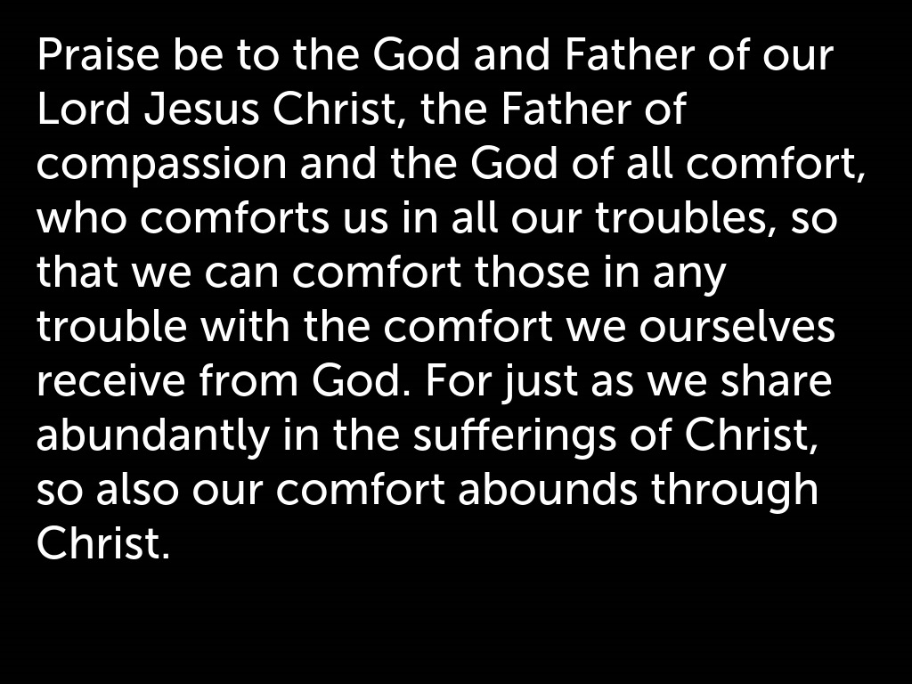 Praying in the dark - The Father of compassion